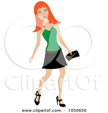 Royalty-Free (RF) Clip Art Illustration of a Young Red Haired Woman In A Tank Top And Skirt by Pams Clipart