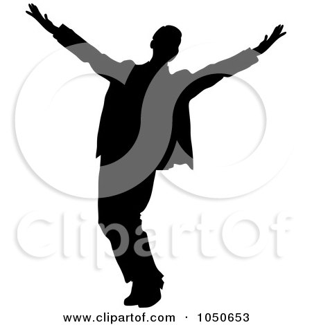 Royalty-Free (RF) Clip Art Illustration of a Happy Silhouetted Businessman by Pams Clipart