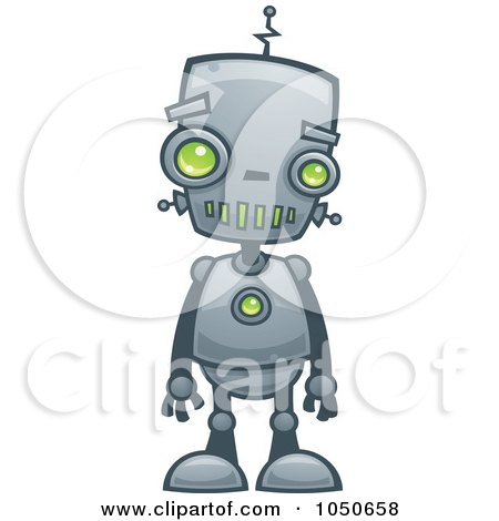 Royalty-Free (RF) Clip Art Illustration of a Cute Robot With Green Eyes by John Schwegel