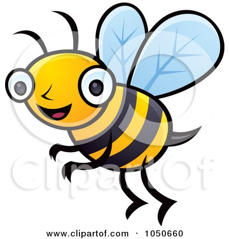 Royalty-Free (RF) Clip Art Illustration of a Happy Honey Bee by John Schwegel