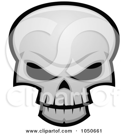 Royalty-Free (RF) Clip Art Illustration of an Evil Skull With Dark Eye Sockets by John Schwegel