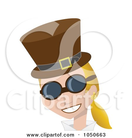 Royalty-Free (RF) Clip Art Illustration of a Blond Steampunk Woman In A Hat And Glasses by mheld