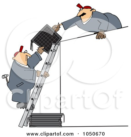 Royalty-Free (RF) Clip Art Illustration of Solar Panel Installers Working Together by djart