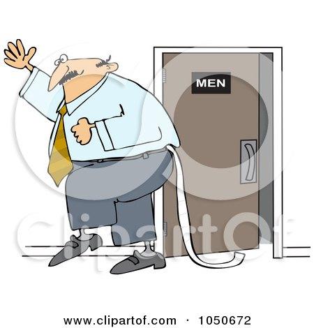 Royalty-Free (RF) Clip Art Illustration of a Businessman Dragging Toilet Paper Behind Him by djart