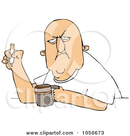 Royalty-Free (RF) Clip Art Illustration of a Grumpy Old White Man Smoking A Cigarette Over Coffee by djart