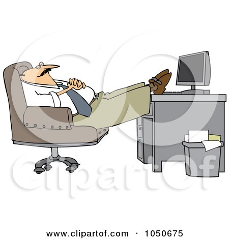Royalty-Free (RF) Clip Art Illustration of a Businessman Relaxing With His Feet On His Desk by djart