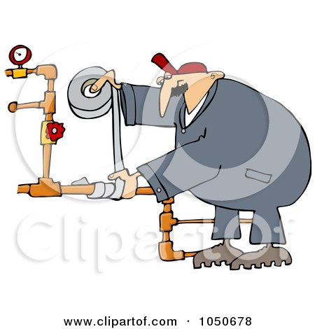 Royalty-Free (RF) Clip Art Illustration of a Plumber Using Duct Tape To Fix Pipes by djart