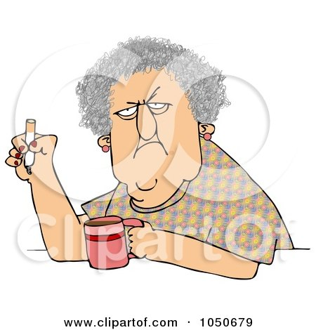 Grumpy Old Woman Smoking Cigarette Over Coffee