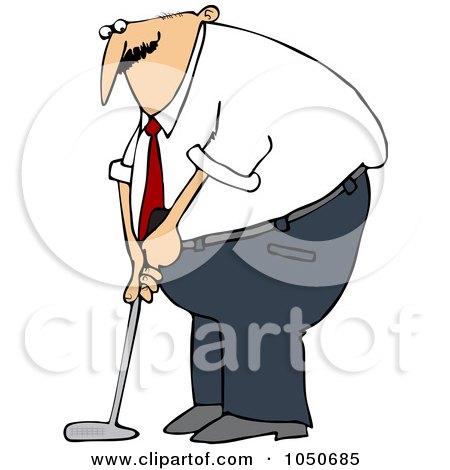Royalty-Free (RF) Clip Art Illustration of a Businessman Golfing by djart