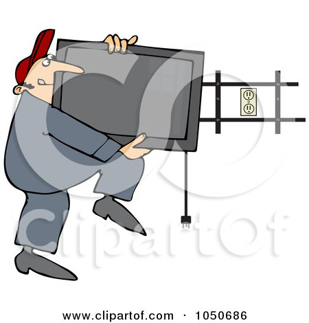 Royalty-Free (RF) Clip Art Illustration of a Man Installing A Flat Screen Tv On A Wall Mount by djart