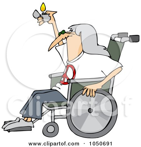Royalty-Free (RF) Clip Art Illustration of a Hippie Man In A Wheelchair, Holding Up A Lighter by djart