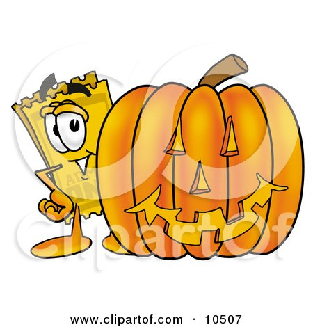 Clipart Picture of a Yellow Admission Ticket Mascot Cartoon Character With a Carved Halloween Pumpkin by Toons4Biz