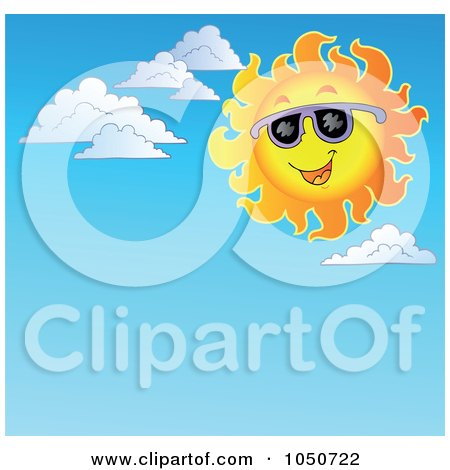 Royalty-Free (RF) Clip Art Illustration of a Background Of A Summer Sun And Clouds In A Sky by visekart