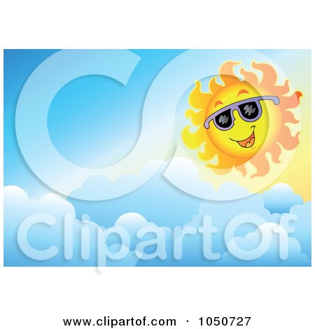 Royalty-Free (RF) Clip Art Illustration of a Background Of A Summer Sun And Clouds by visekart