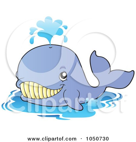 Royalty-Free (RF) Clip Art Illustration of a Happy Blue Whale by visekart