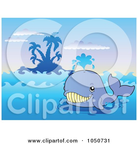 Royalty-Free (RF) Clip Art Illustration of a Happy Blue Whale Near An Island by visekart