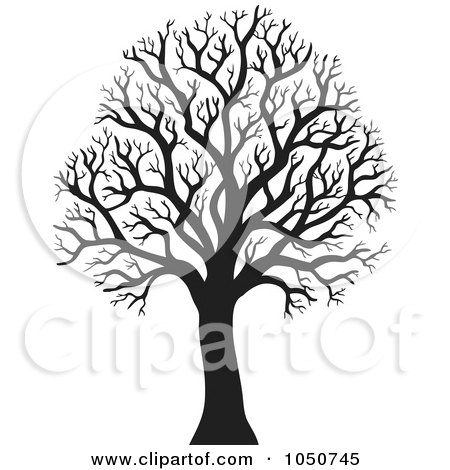 Royalty-Free (RF) Clip Art Illustration of a Silhouetted Bare Winter Tree by visekart