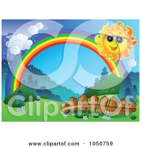 Royalty-Free (RF) Clip Art Illustration of a Spring Landscape With A Sun, Fence, Rainbow And Rain by visekart