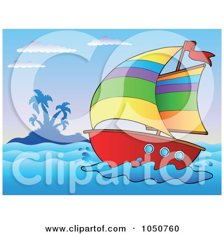 Royalty-Free (RF) Clip Art Illustration of a Sailboat Near An Island by visekart