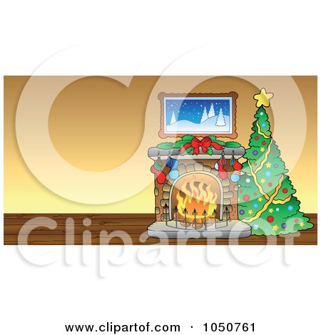 Royalty-Free (RF) Clip Art Illustration of a Christmas Tree And Fireplace In A Room by visekart