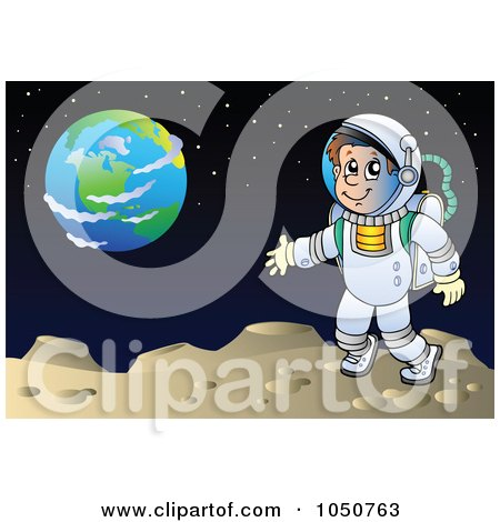 Royalty-Free (RF) Clip Art Illustration of an Astronaut On A Foreign Planet by visekart