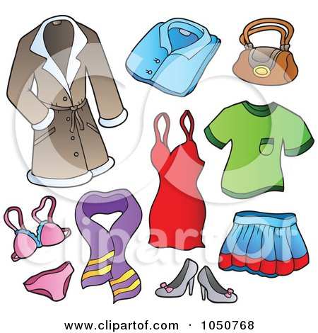 Royalty-Free (RF) Clip Art Illustration of a Digital Collage Of Female Clothing Items by visekart