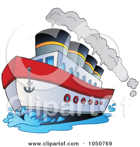 Royalty-Free (RF) Clip Art Illustration of a Steamship by visekart