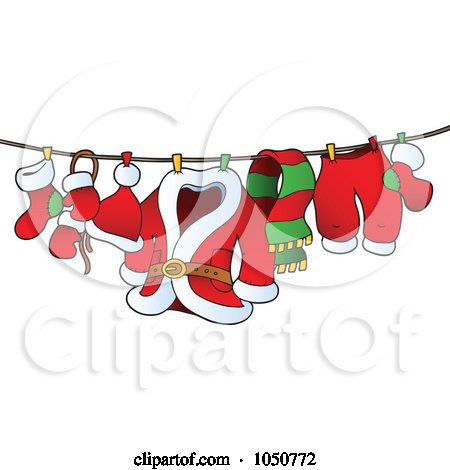 Royalty-Free (RF) Clip Art Illustration of Santa's Laundry Drying On A Clothesline by visekart