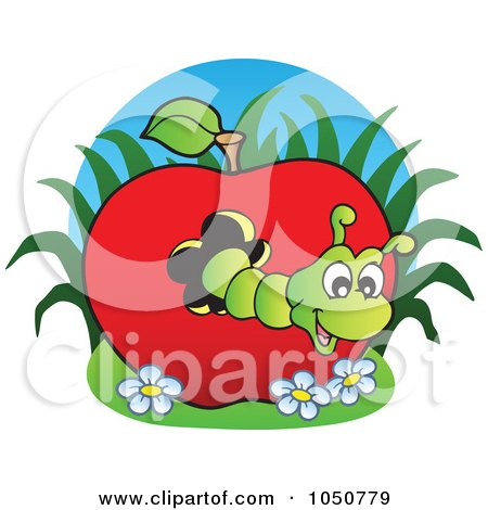 Royalty-free clipart picture of a worm in an apple logo,