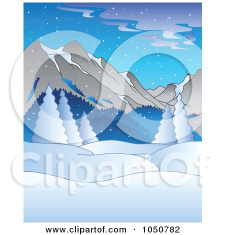 Royalty-Free (RF) Clip Art Illustration of a Winter Background Of Flocked Trees And Mountains by visekart