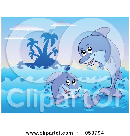Royalty-Free (RF) Clip Art Illustration of Two Dolphins Near An Island by visekart