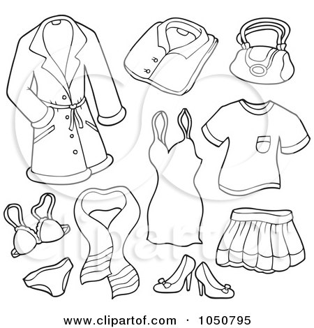 Royalty-Free (RF) Clip Art Illustration of a Coloring Page Of A Digital Collage Of Female Clothing Items by visekart