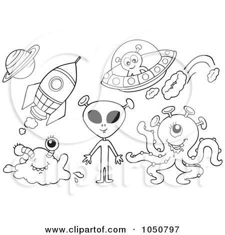 Coloring Pages Rockets. a Coloring Page Of Aliens,