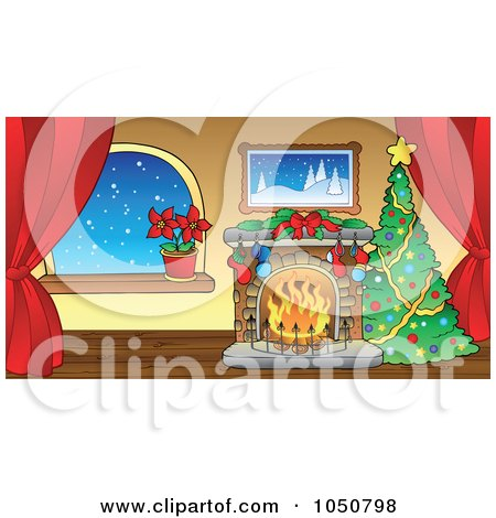 Royalty-Free (RF) Clip Art Illustration of a Christmas Tree And Fireplace In A Room With Curtains by visekart