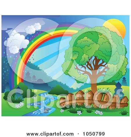 Royalty-Free (RF) Clip Art Illustration of a Spring Landscape With A Sun, Tree, Creek, Fence, Rainbow And Rain by visekart