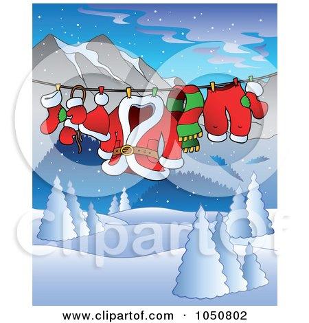 Royalty-Free (RF) Clip Art Illustration of Santas Clothes On A Line Over A Winter Landscape by visekart