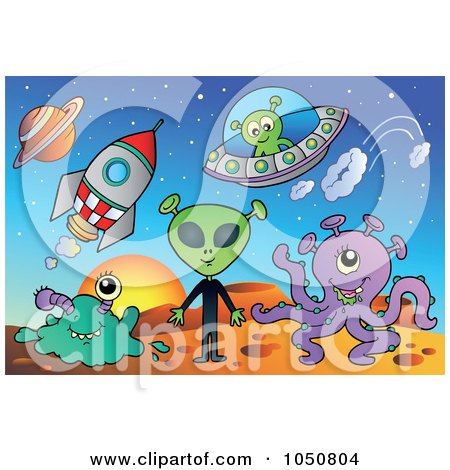 Royalty-Free (RF) Clip Art Illustration of Aliens, Rockets And Flying Saucers On A Planet by visekart