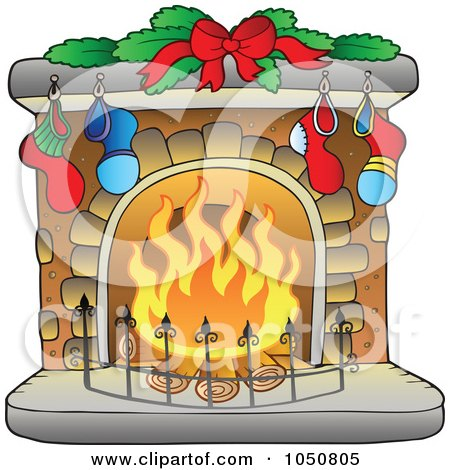 Royalty-Free (RF) Clip Art Illustration of a Christmas Hearth With Stockings by visekart