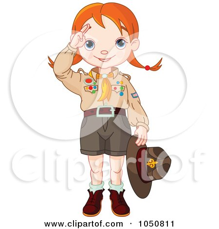 Royalty-Free (RF) Clip Art Illustration of a Saluting Scout Girl by Pushkin