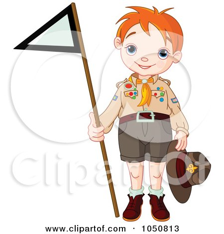 Scout Boy Holding A Flag Posters, Art Prints
