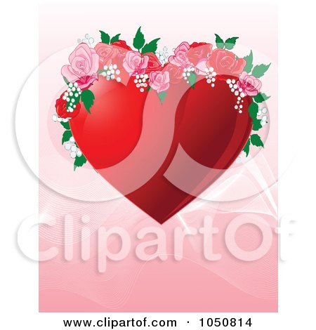 Royalty-Free (RF) Clip Art Illustration of a Valentines Day Background Of A Red Floral Heart Over Pink by Pushkin
