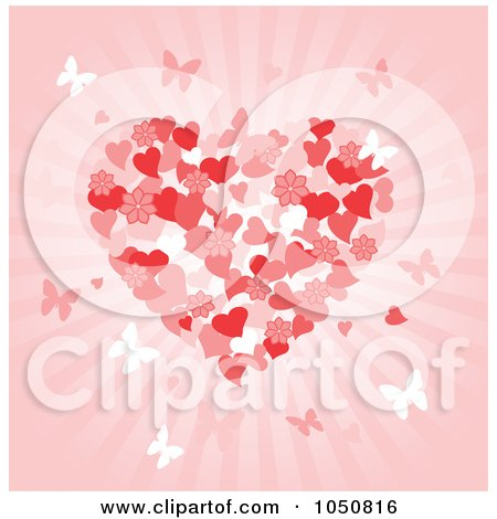 Royalty-Free (RF) Clip Art Illustration of a Valentines Day Background Of A Floral Heart And Butterflies Over Pink Rays by Pushkin