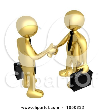Royalty-Free (RF) Clip Art Illustration of a 3d Gold Business Men Shaking Hands by 3poD