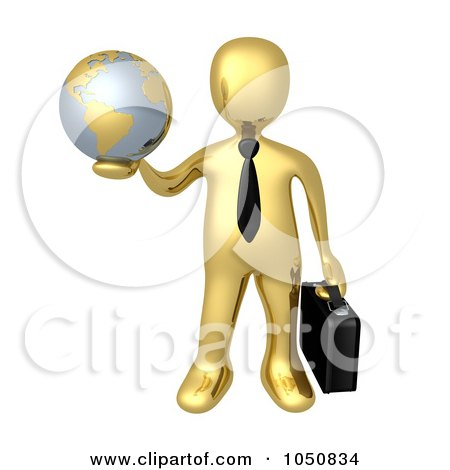 Royalty-Free (RF) Clip Art Illustration of a 3d Gold Business Man Holding A Globe by 3poD