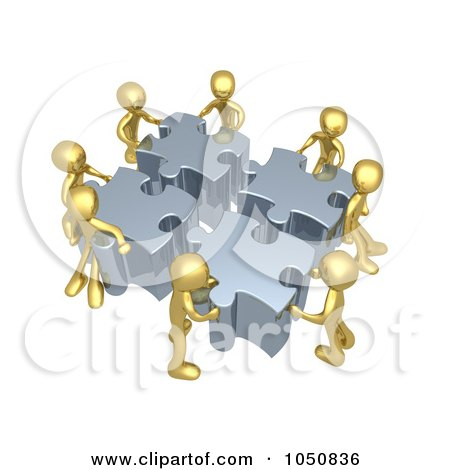Royalty-Free (RF) Clip Art Illustration of a 3d Gold Men Assembling A Puzzle by 3poD