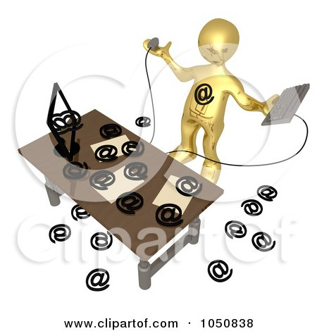 Royalty-Free (RF) Clip Art Illustration of a 3d Gold Man Being Attacked By Spam Email by 3poD