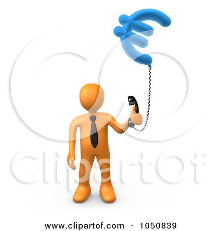 3d Orange Man Holding A Euro Phone Posters, Art Prints