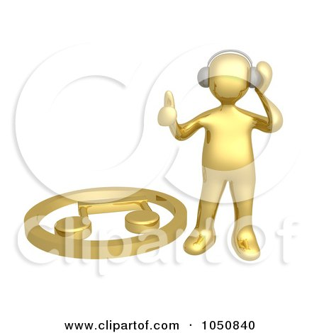 Royalty-Free (RF) Clip Art Illustration of a 3d Gold Man Listening To Music by 3poD