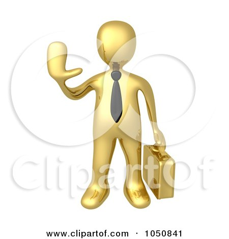 Royalty-Free (RF) Clip Art Illustration of a 3d Gold Business Man Holding A Hand Up by 3poD