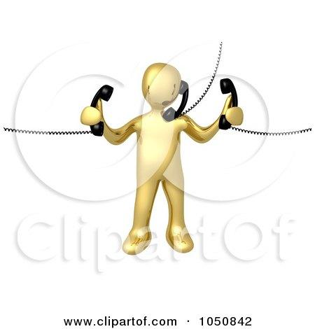 Royalty-Free (RF) Clip Art Illustration of a 3d Gold Man Handling Multiple Phones by 3poD